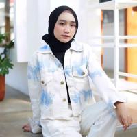 Jaket Jeans wanita Ripped sobek Baju Levis Cewek Casual Original Keren - Seperti Foto
