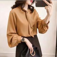 baju atasan wanita top blouse kombinasi dasi terbaru korea