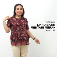 Atasan Batik Big Size Wanita Blouse Jumbo Baju Kerja Big Size Seragam - S