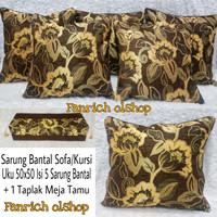 Set Sarung Bantal Sofa Kursi Uku 50x50 Tamu Mewah Bunga Premium