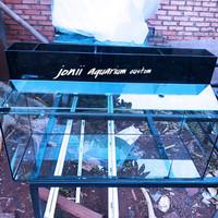 aquarium 100x50x50 8mm set top filter dan tutup