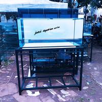 aquarium 120x50x50 10mm set rak, top filter dan tutup