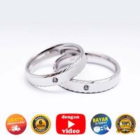 RC 063- Cincin Couple Perak Sterling 925 Emas Putih ASLI Korea-Garansi