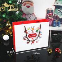 Kantong Kertas Craft Packaging Tali / Paper Bag Kado Natal Lucu Putih