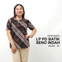 Blouse Jumbo Atasan Batik Big Size Wanita Model Bunga Bolero Seragam - L