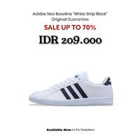 Sepatu Adidas Original Neo Baseline - White Strip Black