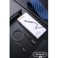 TRANYOO S9 magnetic safe fast charging data cable 5A micro,type-c,ip - Hitam, MICRO