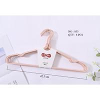 Gantungan Baju / Hanger Kawat Lapis Plastik 0853 - Isi 8 Pcs