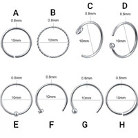 PIERCING STAINLESS RING HOOK SEPTUM NOSTRIL TIPE A- H