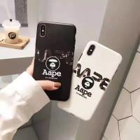 CASE BAPE CASING IPHONE 6 6s 7 8 PLUS X XS XR XSMAX 11 12 PRO MAX EM - Hitam