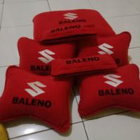 Sandaran Leher Bantal Mobil Suzuki Baleno Merah Full Bordir