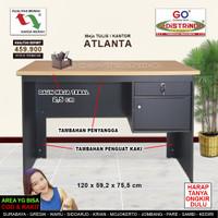 Meja Tulis Kantor Konstruksi Kokoh dan Kuat, Motif kayu Jati