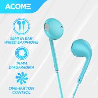 ACOME Headset Stereo Sound Microphone Semi In Ear Wired Earphone - Blue