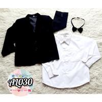 AL030 - import - baju anak cowok atasan tuxedo kemeja black kupu - boy