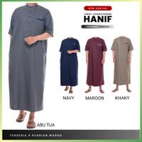 Baju Jubah Gamis Pria Muslim Laki Dewasa Hanif Lengan Pendek Premium