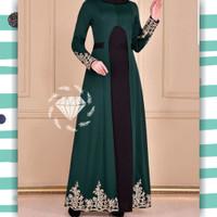 Baju india Maxy Deandra hijau botol XL gamis pesta murah dur at