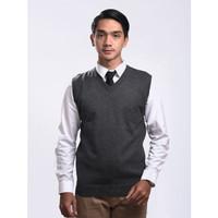 Sweater Rajut Pria Gomuda - Vest/Rompi Abu Tua - Abu Tua, M