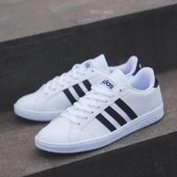 Sepatu Adidas Neo Baseline White Black Original Made in Indonesia - Putih, 37