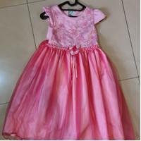 baju gaun princess anak perempuan 5 sampai 8 tahun pink murah