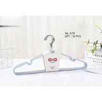 Gantungan Baju / Hanger Kawat Lapis Plastik 0678 - Isi 10 Pcs