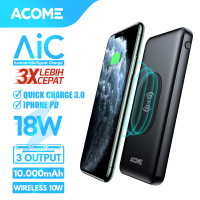 ACOME Powerbank 10000mAh Wireless Charge AiC QC3.0 iPhone PD