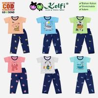 Setelan KELFI Baju Celana Panjang Bayi Anak Cowok Cewek - Simple Art