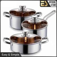ES Set Panci Stainless Steel 3 in 1 Peralatan Masak Stainless Steel