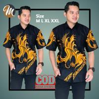 Kemeja Batik Pria Baju Hem Cowok Lengan Pendek Atasan Kasual Modern