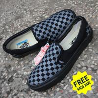 Murah! Vans Slip On Checkerboard Black Grey | Sepatu Sneakers Pria