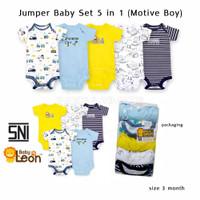Jumper bayi 5 PCS 100% Cotton baju bayi jumsuit bayi 5in1 lembut