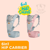6-in-1 Premium Gendongan Baby Hip Carrier IMUNDEX + Hipseat - Merah Muda