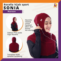 Rocella Sports - Hijab Sport Sonia - Jilbab Olahraga Instant - Maroon, All Size