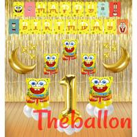 Paket Dekorasi Ulang Tahun Balon Foil Spongebob | Sandy | Mr Crab