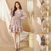 Thrella Floral V Neck Ruffle Midi Dress Baju Wanita Shirt - 3751