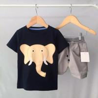 baju setelan anak bergambar gajah kaos anak pakaian anak costum - 2-3 tahun