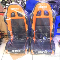 jok racing orange hitam semi kulit+real 2pcs