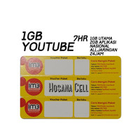 Voucher Paket Data Indosat 1GB+UNL Youtube