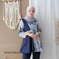 Baju Batik Wanita Blouse Kombinasi Motif Soft