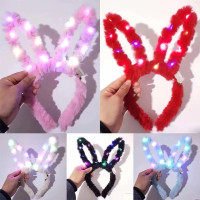 Bando lampu LED Bunny telinga kelinci party natal tahun baru - RANDOM