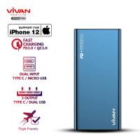 Power Bank 10000 mah VIVAN 2 USB Fast Charging QC3.0 PD 18W VPB-F10S - Biru