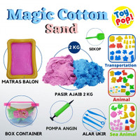 Mainan pasir magic cotton sand 2kg lengkap box alas balon cetakan