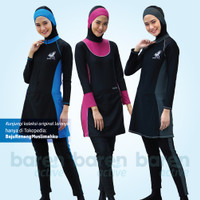 Baju Renang Muslimah Slim Fit Sporte Setelan Spandex Elastis Quick Dry