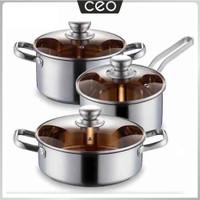 CEO Panci Stainless Steel 3 in 1 Set Varian Panci Susu Panci Serbaguna