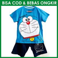 Setelan Baju Karakter Anak Laki Doraemon Biru | Setelan Kaos Anak