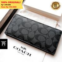 (100% ORIGINAL) Dompet COACH Long Wallet Pria Signature Iconic FULLSET