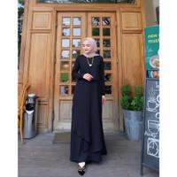 fashion wanita DRESS MIZZA MAXI S-M-L-XL-XXL -XXXL lembut nyaman murah - black, XXXL