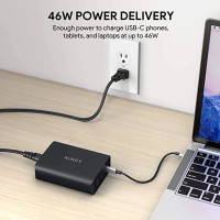 Aukey Wall Charger PA Y13 74 5W USB C PD 3 0 Dual Port USB