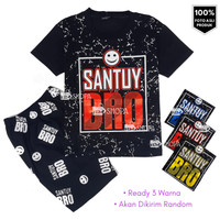 HM Baju Setelan Anak laki laki SANTUY BRO 1-9 thn | kaos anak trend