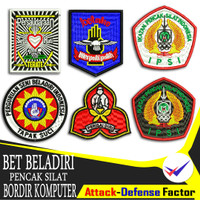 Bet IPSI badge emblem bordir pencak silat putih hitam