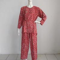 setelan celana wanita batik coral allsize bawahan wanita muslim batik - merah bata